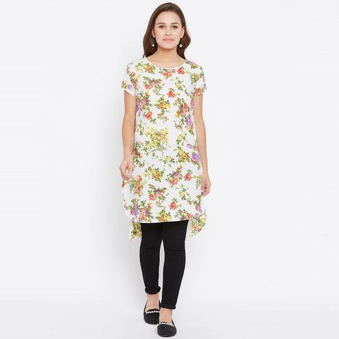 Opulent White Casual Wear Floral Printed Crepe Tunic