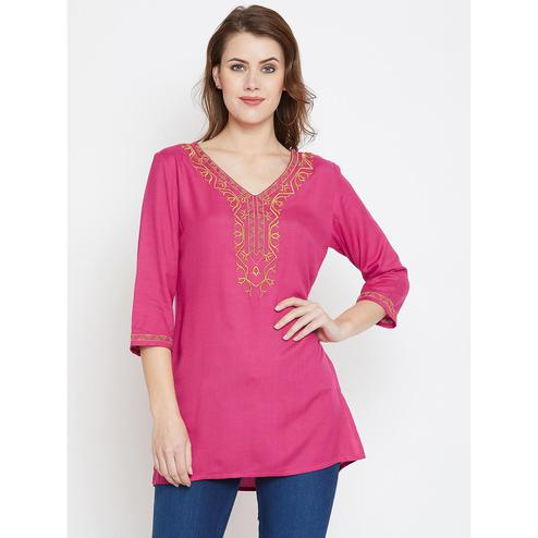 Energetic Pink Color Casual Wear Embroidered Rayon Tunic