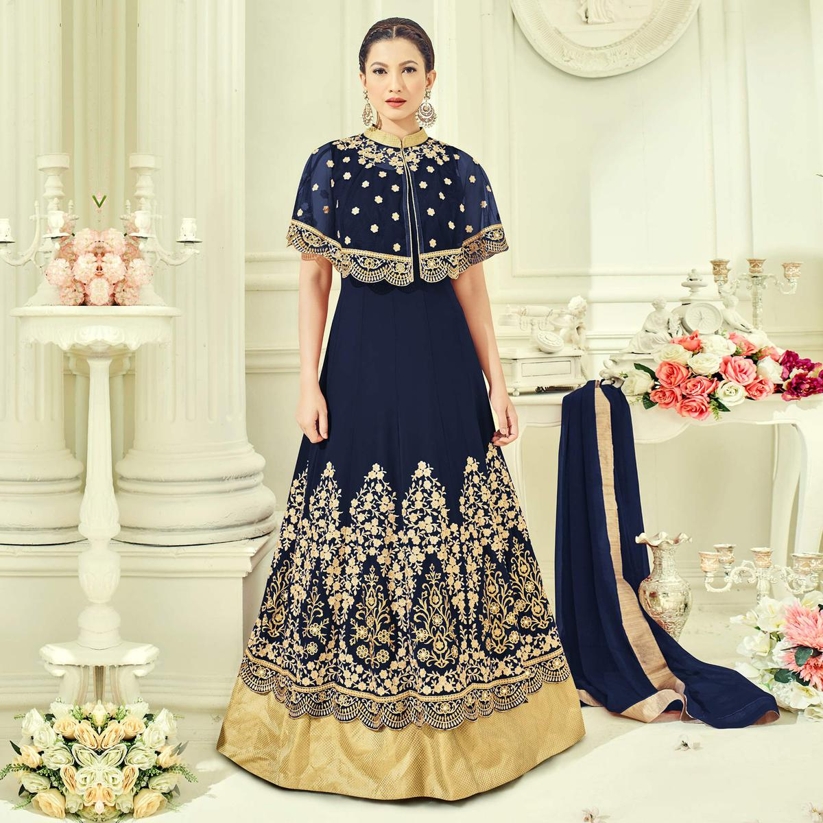 Blue Party Wear Cape Style Anarkali Suit