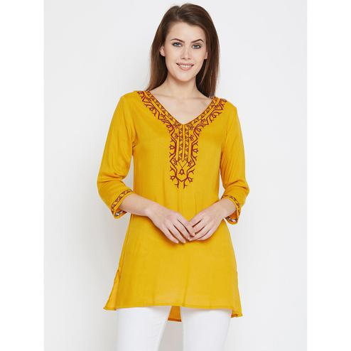 Glowing Mustard Yellow Casual Wear Embroidered Rayon Tunic