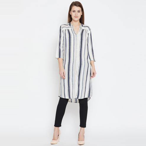 Exceptional White Color Casual Wear Stripe Printed Rayon Tunic