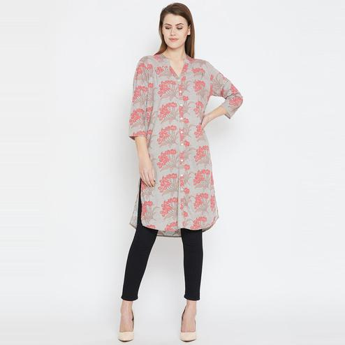 Mesmeric Grey Casual Wear Color Floral Printed Rayon Tunic