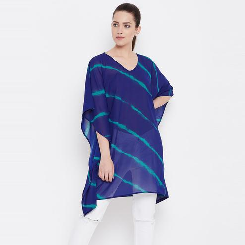 Unique Blue Color Casual Wear  Prinrted Georgette Tunic