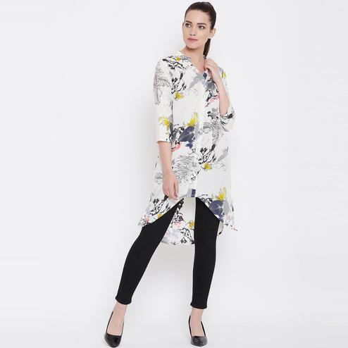 Magnetic White Casual Wear Floral Printed High Low Crepe Tunic