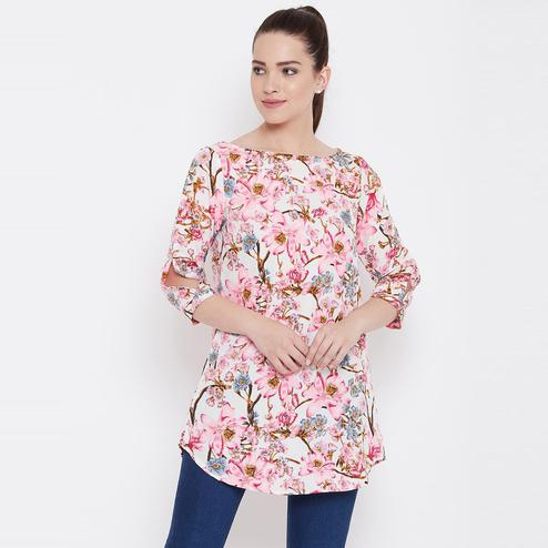 Hypnotic Cream Casual Wear Floral Printed Crepe Tunic