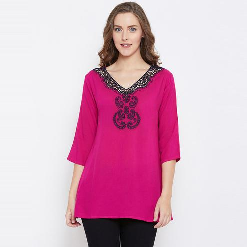 Flattering Fuschia Pink Color Casual Wear  Rayon Embroidered Tunic