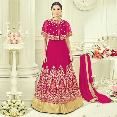 Pink Party Wear Cape Style Anarkali Suit