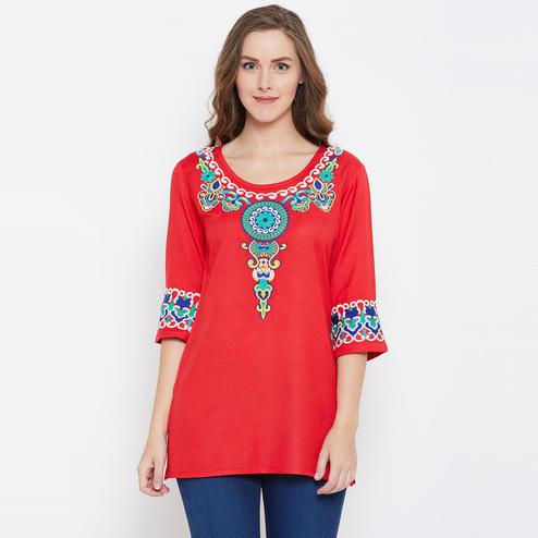 Excellent Red Color Casual Wear  Embroidered Rayon Tunic