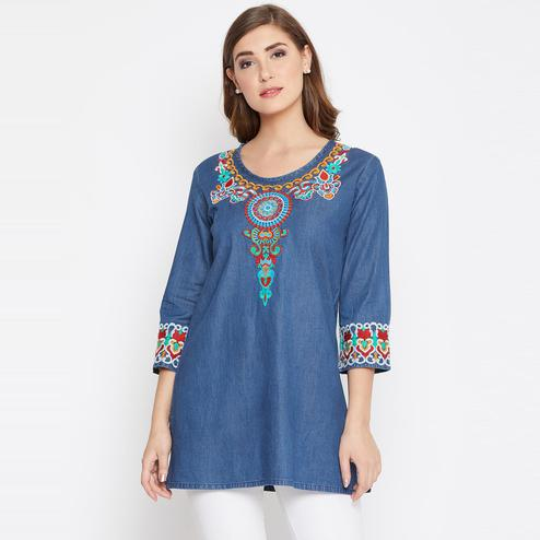 Marvellous Navy Blue Color Casual Wear  Embroidered Denim Tunic