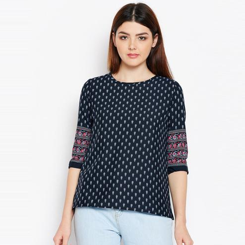 Glorious Navy Blue Color Casual Wear Printed Crepe Top