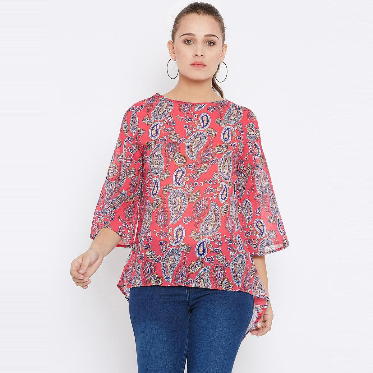 Graceful Peach Casual Wear Paisely Printed Georgette Top