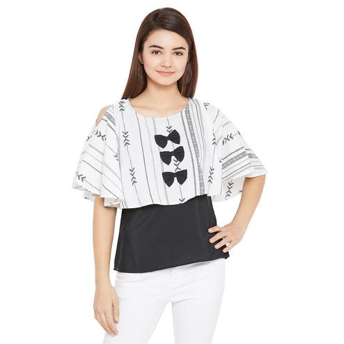 Charming White Color Casual Wear Printed Off Shoulder Crepe Top