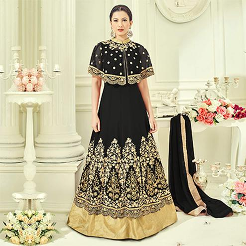 Black Party Wear Cape Style Anarkali Suit