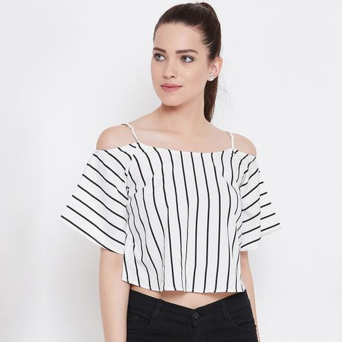 Gorgeous White Color Casual Wear Stripe Printed Shoulder StrapCrepe Top