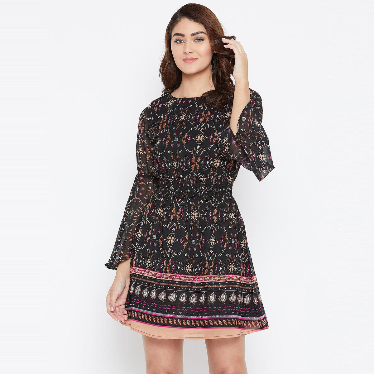 Blissful Black Casual Wear Printed Georgette With Cotton Lining Knee Length Dress