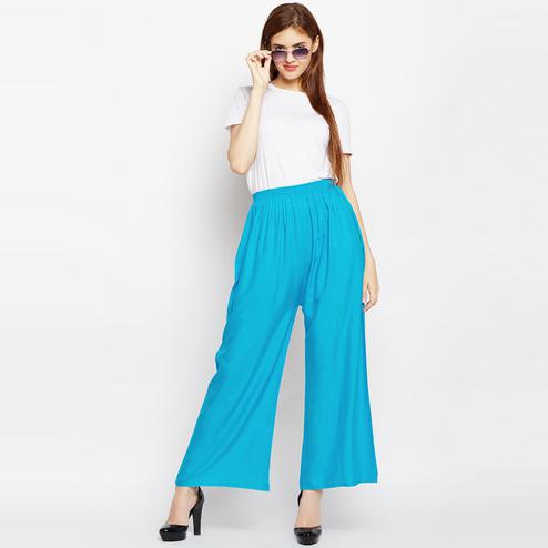 Excellent Sky Blue Colored Casual Wear Straight Viscose-Rayon Palazzo