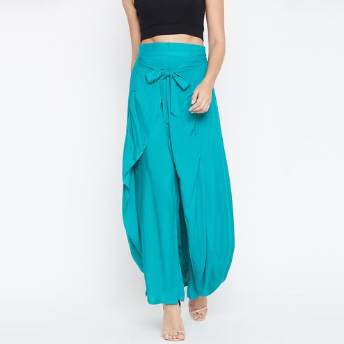 Alluring Turquoise Colored Casual Wear Flared Viscose-Rayon Palazzo