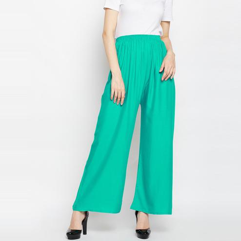 Flaunt Green Colored Casual Wear  Straight Viscose-Rayon Palazzo
