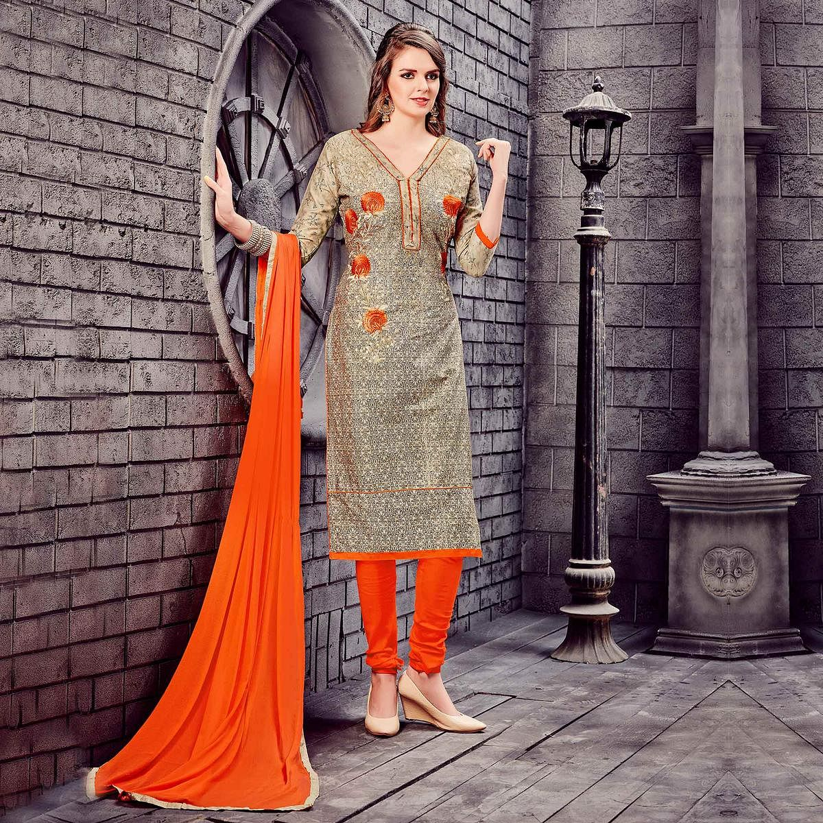 Beige - Orange Cotton Dress Material