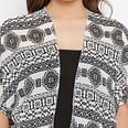Flirty Off White - Black Colored Casual Wear Printed Georgette Shrug