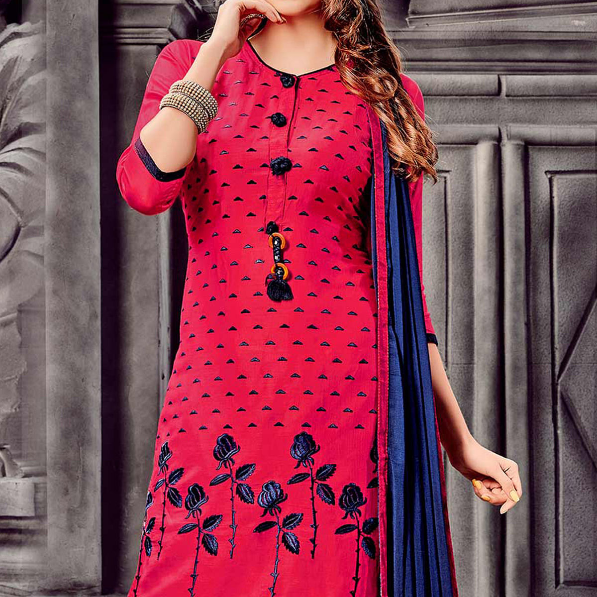 Coral Red - Navy Blue Embroidered Dress Material