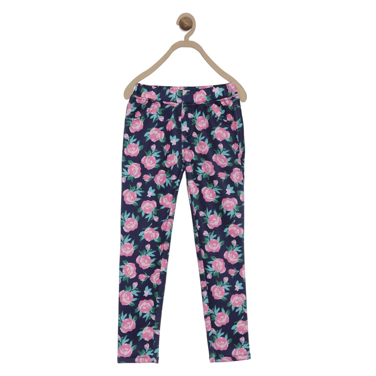 612 League - Blue Colored Printed Jeggings For Girls