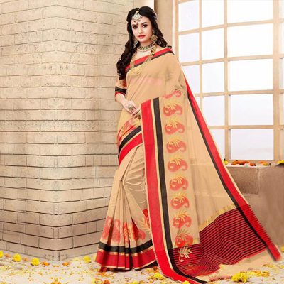 Peach Embroidery Work Chanderi Cotton Saree