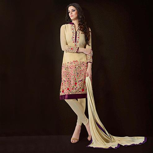 Cream Resham & Aari Work Georgette Suit