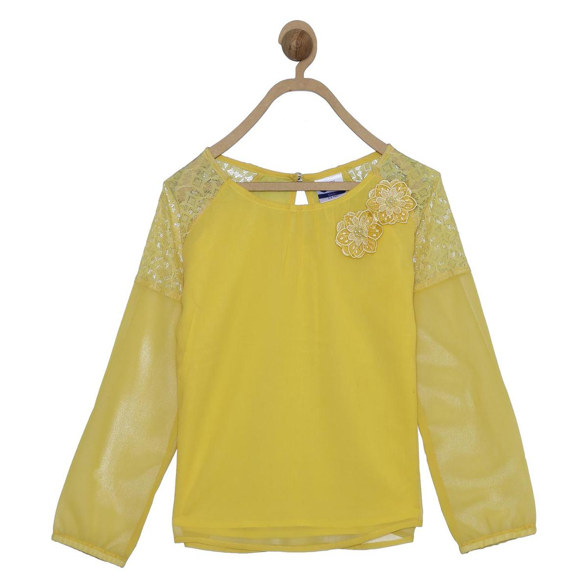 612 League - Yellow Colored Lace Insert Georgette Top For Girls