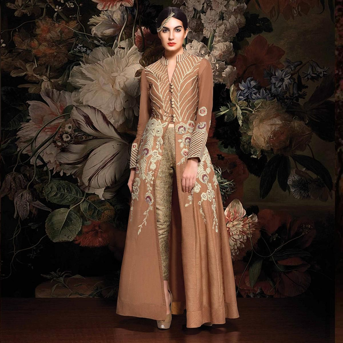 Pastel Brown Slit Cut Designer Suit