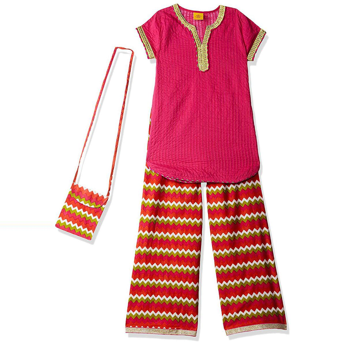 612 League - Pink Colored Ethnic Wear Cotton Kurti Palazzo Set For Girls
