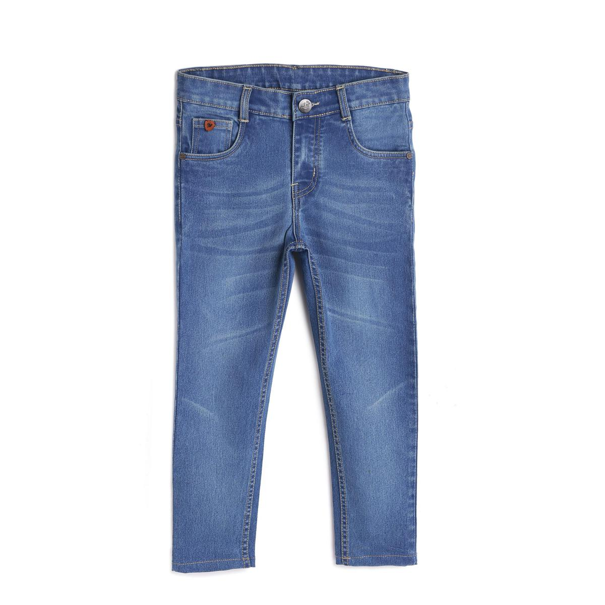 612 League - Blue Colored Distressed & Faded Basic Denim Jeans For Boys