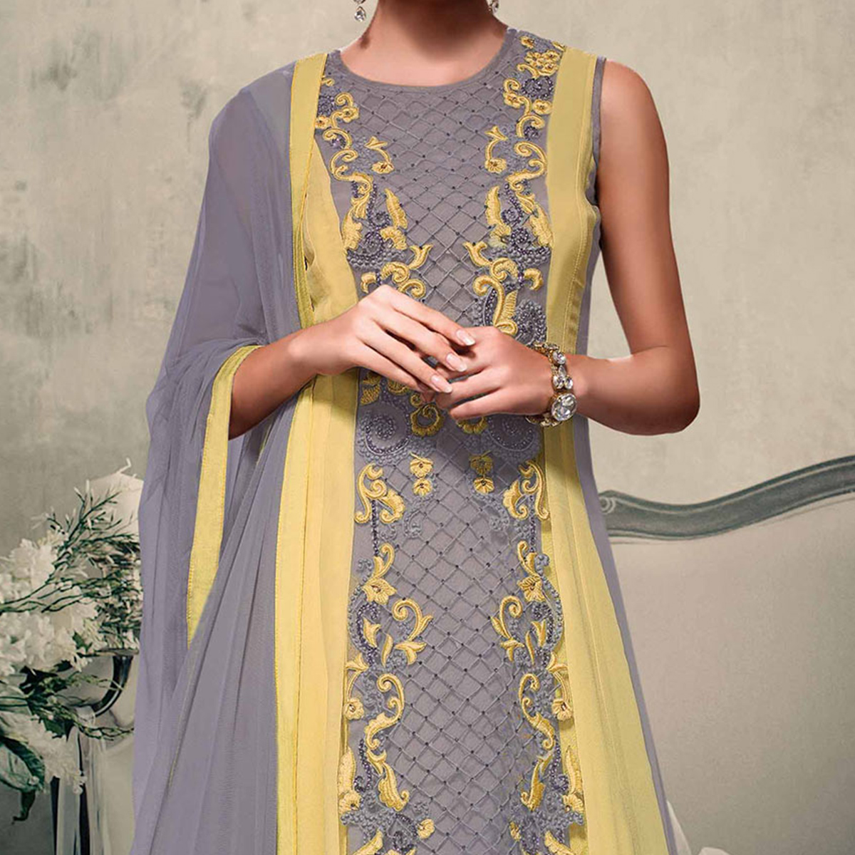 Grey & Pastel Yellow Reception Wear Anarkali