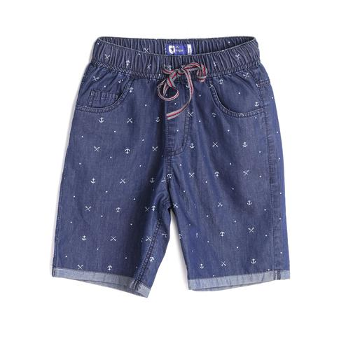 612 League - Blue Colored Printed With Elasticated Waist Denim Shorts For Boys