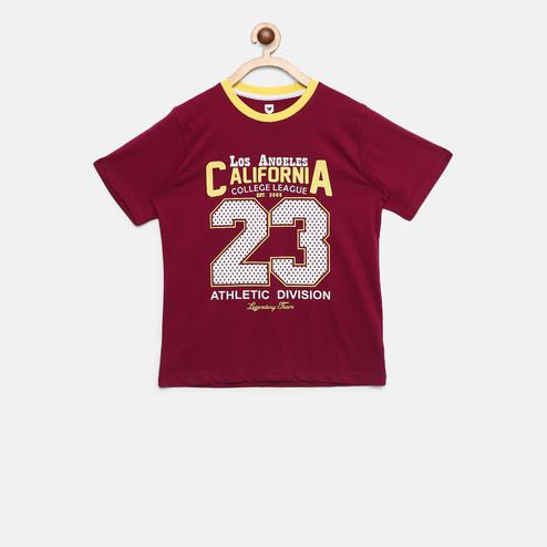 612 League - Maroon Colored California Graphic T-shirt For Boys