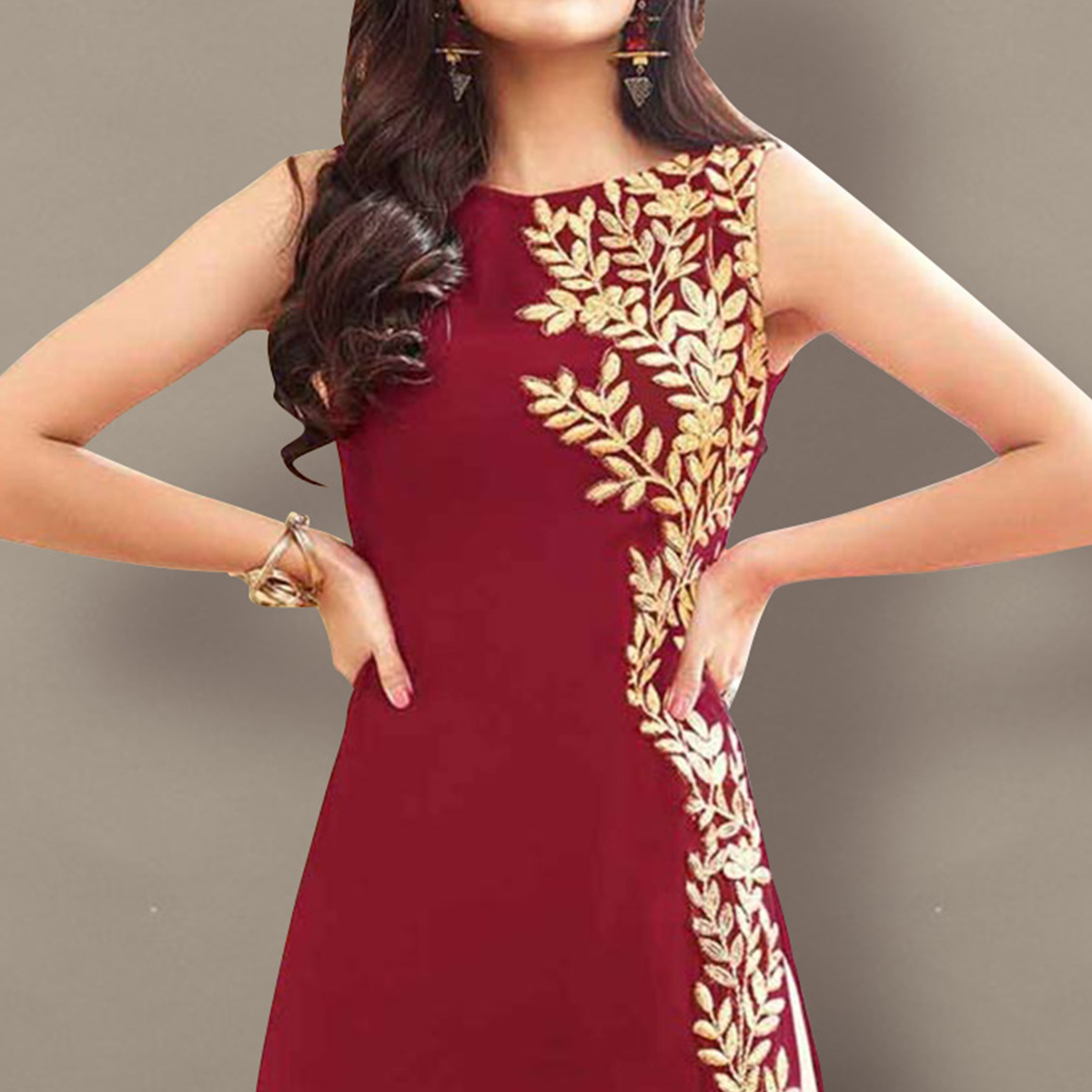 Maroon Embroidered Work Kameez with Palazzo