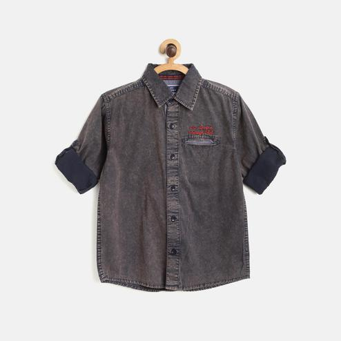 612 League - Grey Colored Solid F/S Shirt For Boys