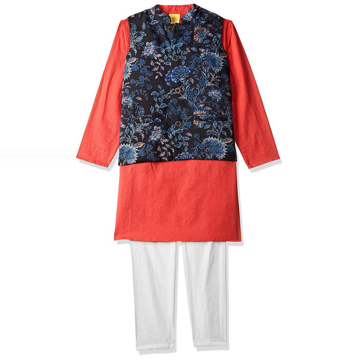 612 League - Red Colored Solid Floral Kurta Pyjama With Waistcoat Set For Boys