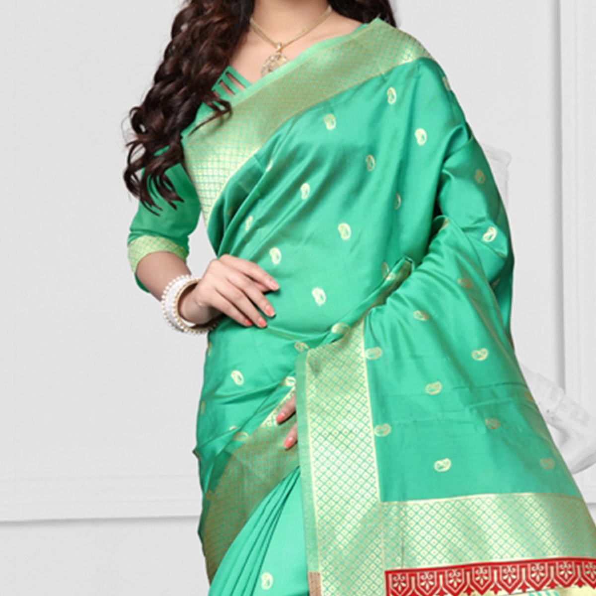 Green Zari Weaving Work Art Silk Saree