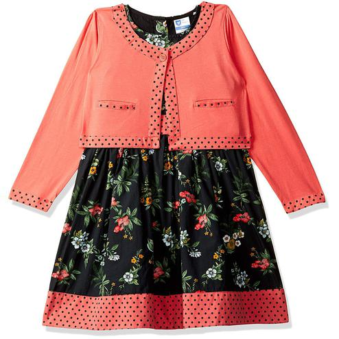 612 League - Black Colored Casual Poplin Floral Printed With Shrug Dress For Girls