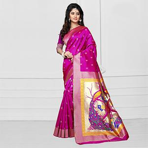 Magenta Art Silk Weaving Work Saree