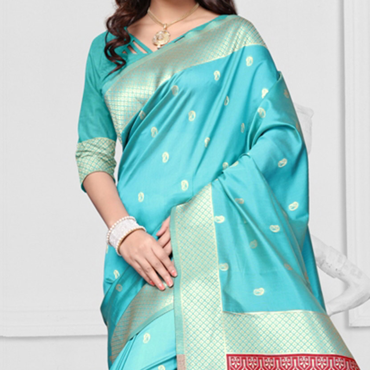 Firozi Blue Art Silk Woven Saree