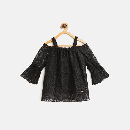 612 League - Black Colored Lace Off Shoulder Woven Top For Girls