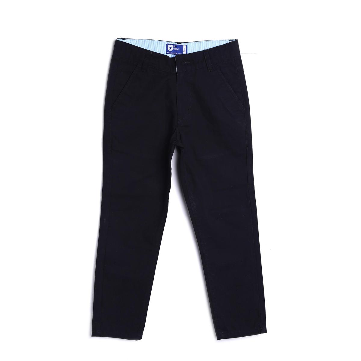 612 League - Black Colored Straight Basic Twill Trouser For Boys