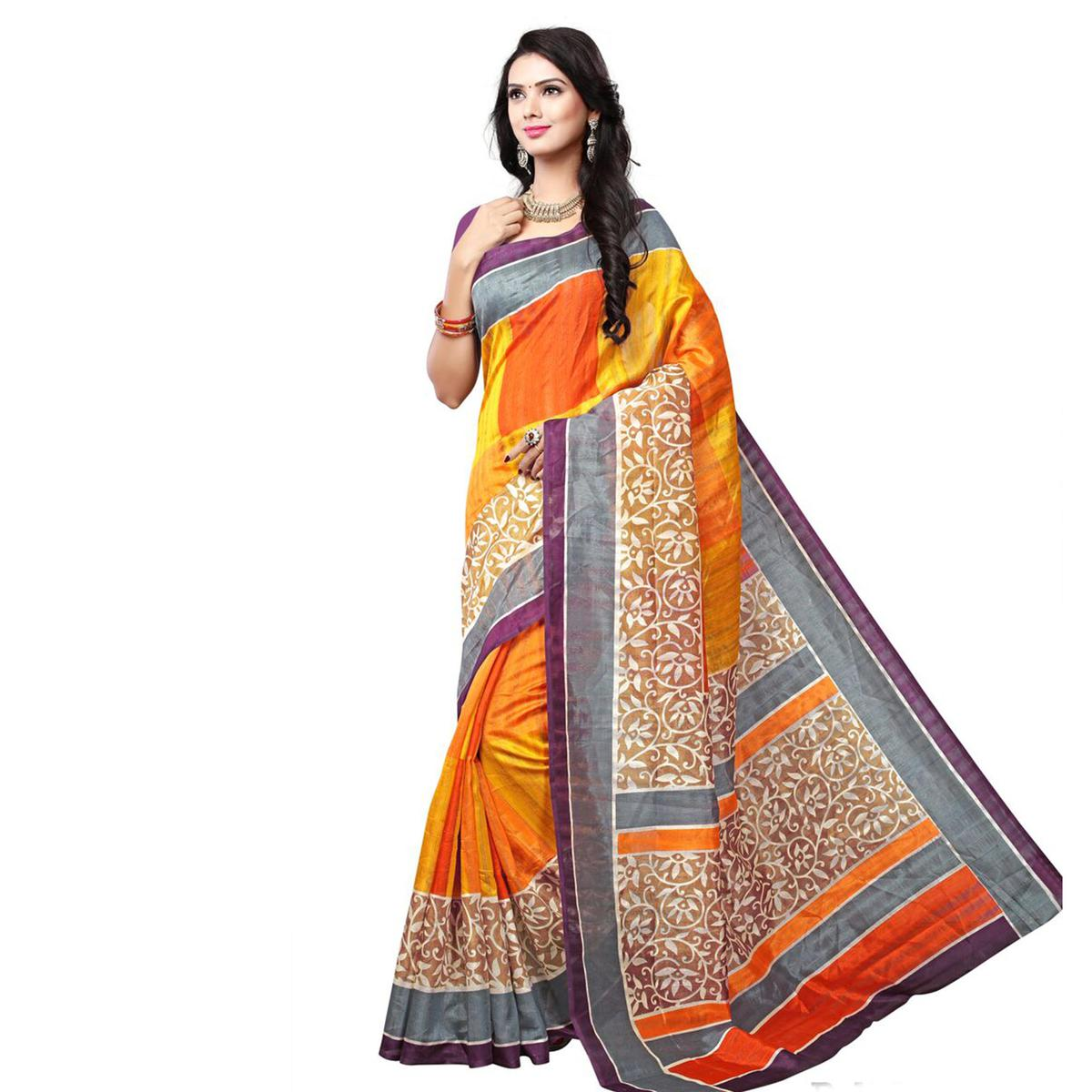 Multi Color Art Silk Printed Saree