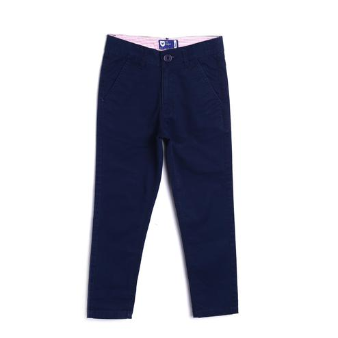 612 League - Blue Colored Straight Basic Twill Trouser For Boys
