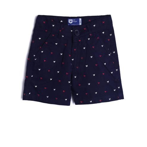 612 League - Navy Blue Colored Basic Twill Bird Printed Straight Shorts For Boys