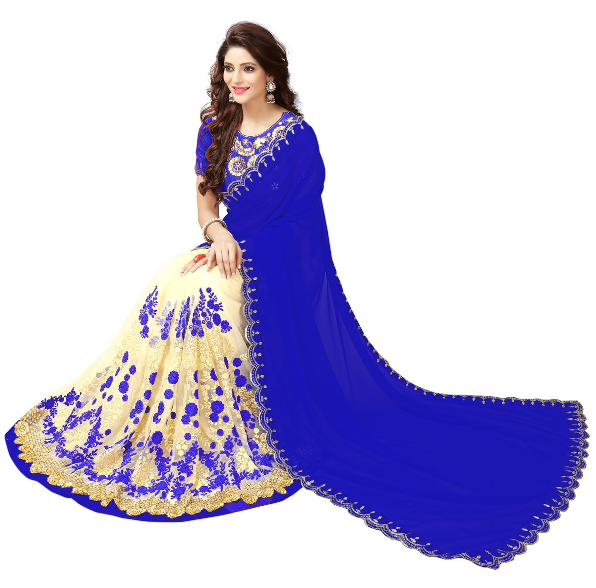 Cream - Blue Embroidered Half & Half Saree