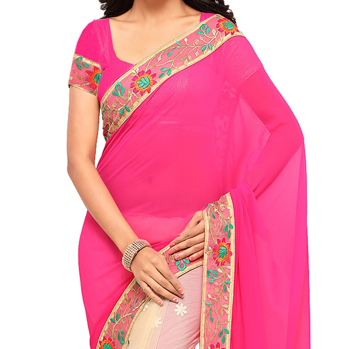 Beige - Pink Half & Half Saree with Embroidery