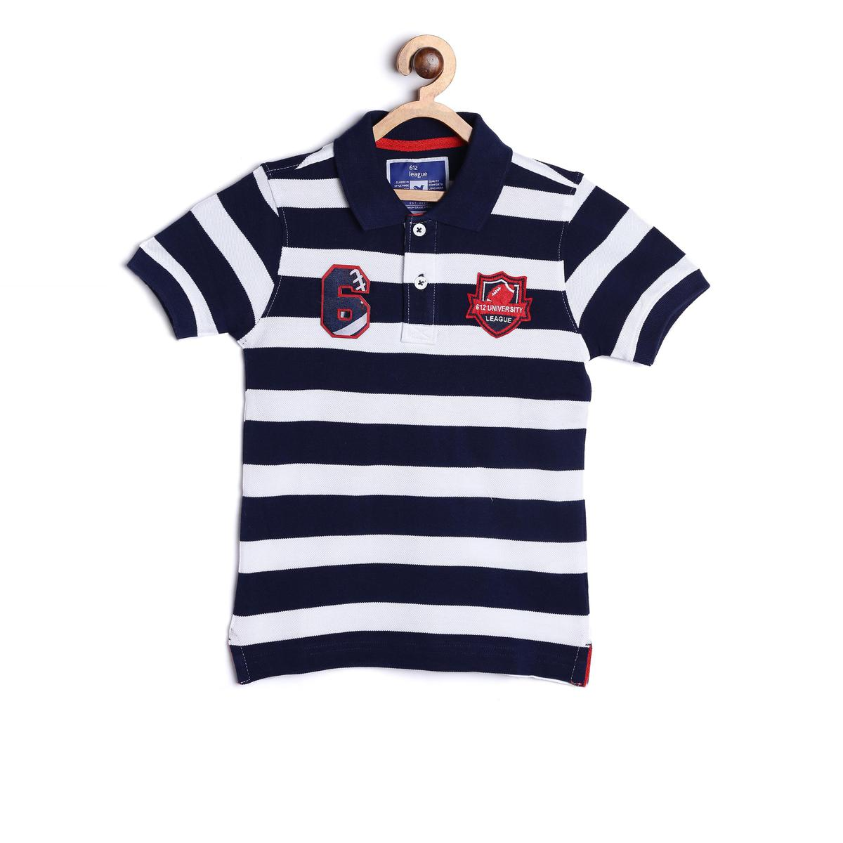 612 League - Blue Colored Collar Basic Rugby Striped Tees T-shirt For Boys